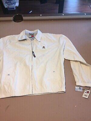 VTG Tommy Hilfiger Cream Color JACKET sz L 90s Full Zip Lion Crest cotton NWT