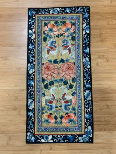 Antique Chinese Silk Embroidered Textile Mirrored Bats or Butterflies Floral Dec