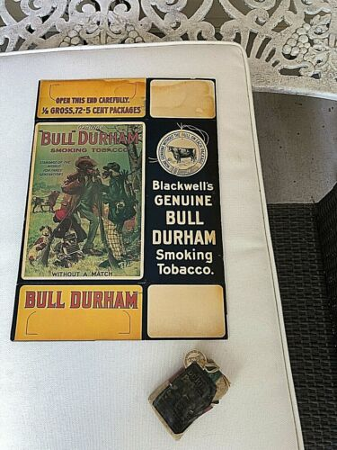 Tobacco Box Bull Durham Countertop Display + Bonus OLD Tobacco Pouch and Papers!