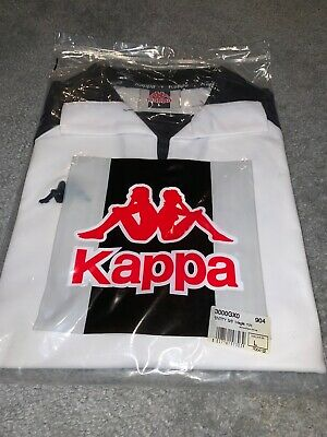 Kappa Vintage Short Sleeve White And Black Collared Jersey Size Large