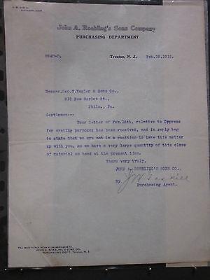 JOHN A. ROEBLING'S  SONS CO. TRENTON N.J. 1912 CORRESPONDENCE LETTER