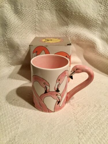 Pink Flamingo Coffee Mug Cup Sarsaparilla Deco Designs 5 & Dime 1986 Boxed NOS