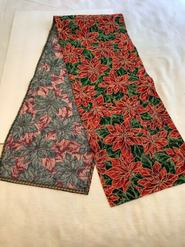 """Woven Tapestry Table Top Runner Green Gold Red Poinsettias 13"""" x 70"""""""