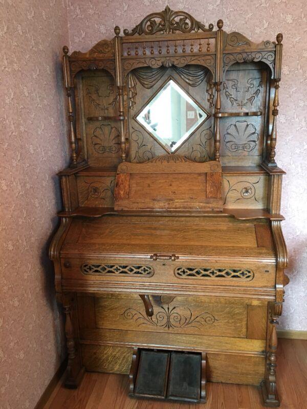 Antique 1868 Oak Pump Organ~Incised Carving~Spindles~Beveled Mirror