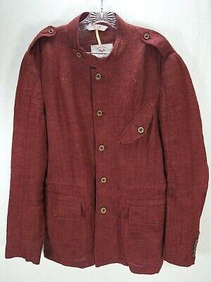Zara Man Burgundy Linen Denim Couture Field Safari Jacket Button Up Shirt XL