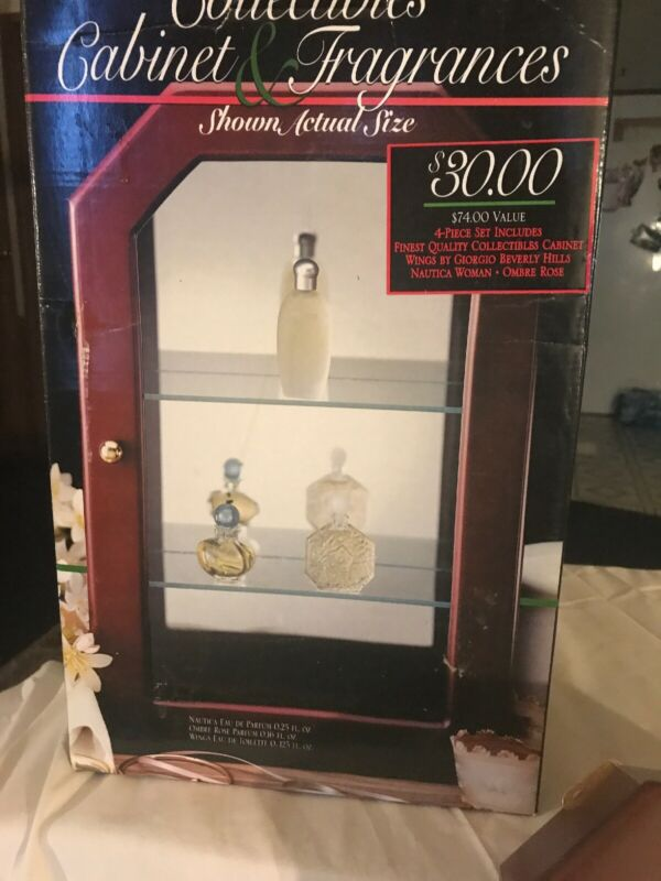 Vintage New Wooden Curio Display Cabinet w/Glass Decorative Fragrance Collection