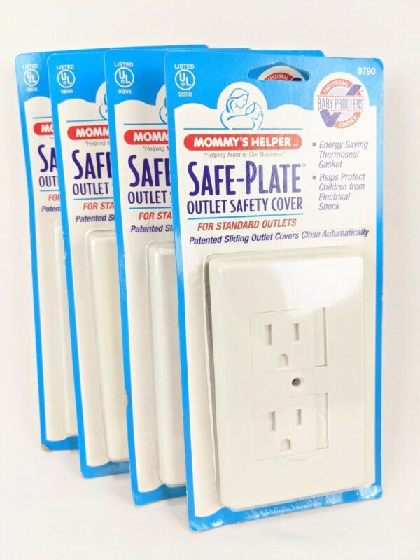Mommys Helper Outlet Safety Covers Lot 4 Safe-Plate Child Sliding Electrical New