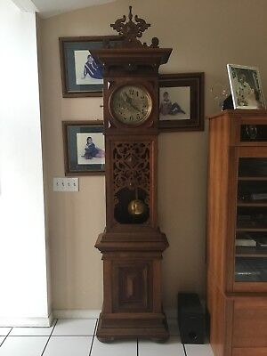 """LFS Antique Tall Case Grandfather Clock produced between 1881-1900. """"WOW'"""
