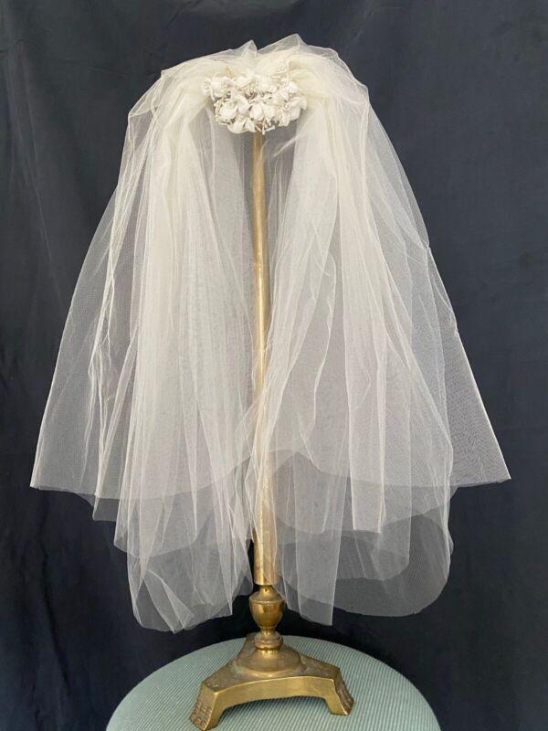 VINTAGE WHITE WEDDING BRIDAL VEIL WITH FLORAL HEADPIECE, ELBOW LENGTH