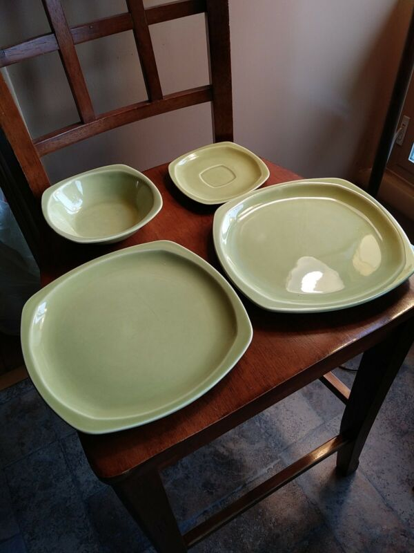Paden City MCM Pottery Minion  Plate Cereal Bowl Saucer USA LOT Chartreuse