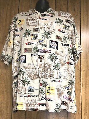 ESPNZone Hawaiian Camp Shirt Sports Center Theme Rockabilly VLV Mens Size (Hawaiian Center)