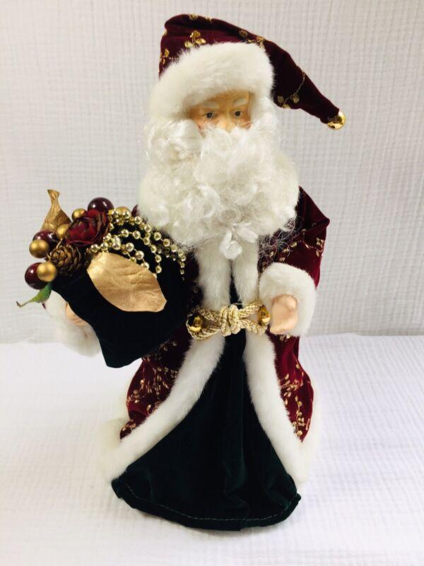 """Unbranded 12"""" Santa Christmas Tree Topper Burgundy Gold Velveteen Robe - Unlit"""