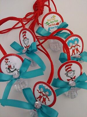 12 Teal Dr. Seuss Baby Shower Pacifier Necklaces Favors