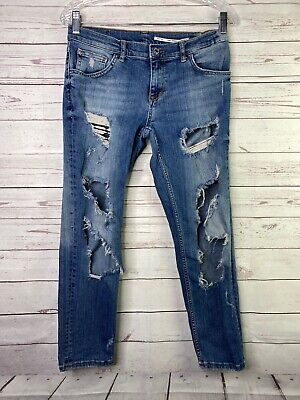 Zara Women's Jeans 6 29x25.5 Mid Rise Skinny Crop Distressed Ripped Destroyed