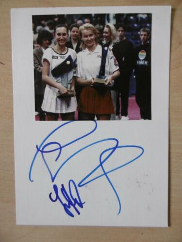 Jana Novotna & Iva Majoli Autogramme signed 10x15 cm Karteikarte mit Magazinbild