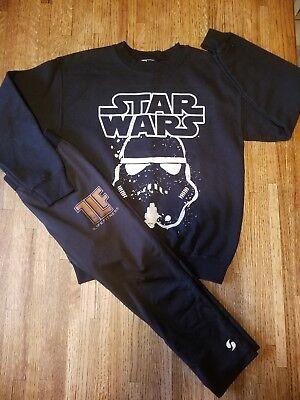 Girl's 2 Pc Black White Star Wars Storm Trooper Sweatshirt Leggings - Size M 8