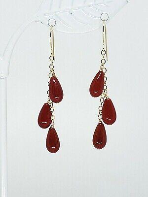 14k Yellow Gold Red Coral Teardrop Drop Dangle Earrings