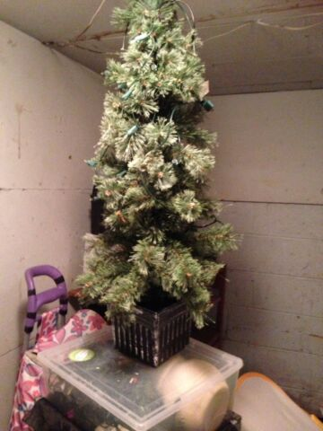 3 ft potted artificial Christmas tree with lights