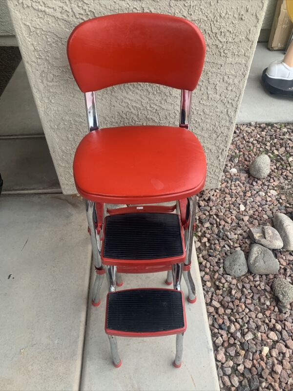 Vintage Cosco Red Chrome Kitchen Step Stool Chair, Retro, Counter, Sliding Steps