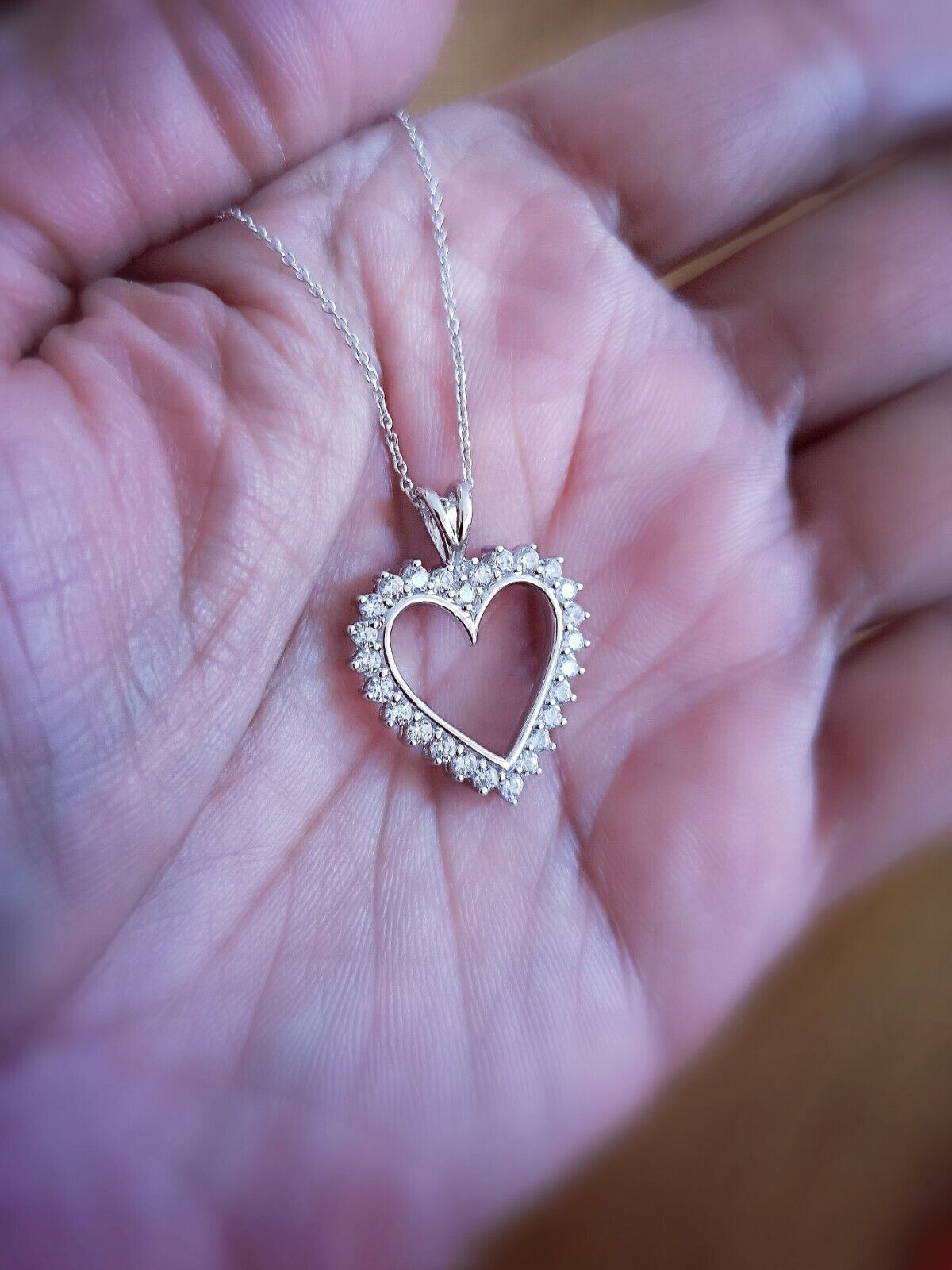 1.25 Ct Diamond Heart Pendant Womens Necklace 14K White Gold over with Chain 7