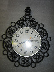 RARE Vintage G.E. General Electric HOLLYWOOD Regency Scroll  Design Wall Clock