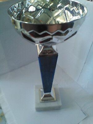 Pokal Silber / blau 33 cm hoch