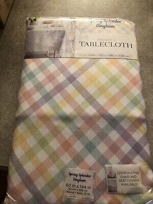"""New In Pkg Spring Splendor Gingham Tablecloth Multi Pastel Oblong 60"""" x 144 """""""