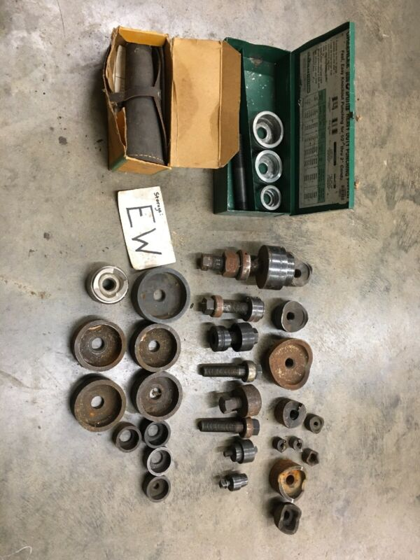 Misc. Lot Of Greenlee Knockout Punches, Dies, Studs, Bearings