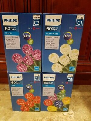 New Philips 60ct LED Faceted Sphere Lights Purple Red Multi Warm White Variation