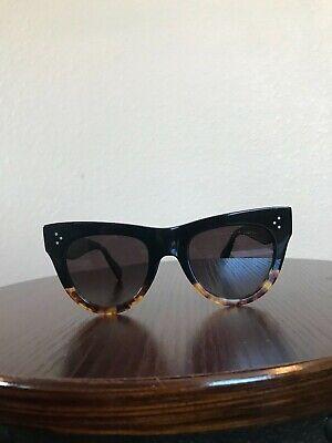 Celine cl 400161 05f Women's Cat Eye Black Brown Sunglasses 50mm (Celine Cat Eye Sunglasses)