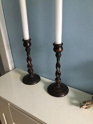 Two Wooden Antique Vintage Barley Twist Candle Sticks