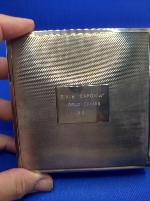 "HBROS Birmingham Sterling CUNARD R.M.S. CARONIA ""Green Goddess"" Cigarette Case"