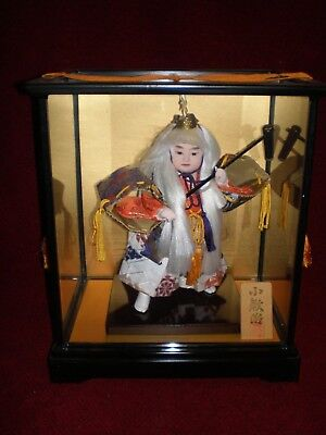 Vintagee Japanese Kabuki Theater Girl with Squirrel Hat Glass-Sided Case , used for sale  Woodsville
