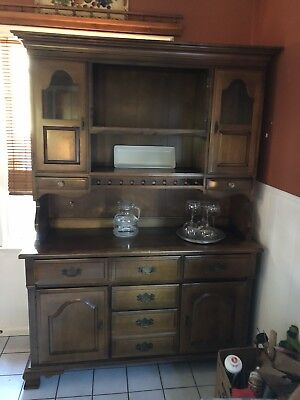 Hard Rock Maple-china Cabinet; 2 piece Buffet With Hutch, Vintage Beautiful