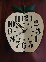 Vintage Ingraham Red Apple Wall Clock for Classroom or Retro Kitchen - Works!