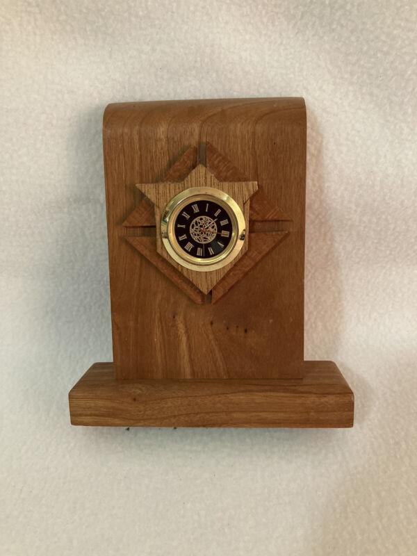 Vintage Handmade Knights of Columbus Shield Wooden Desk Clock 1998