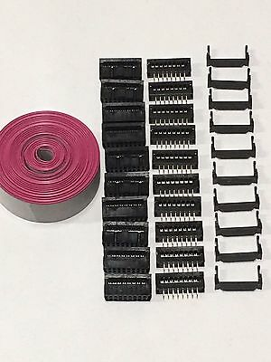 Flat Cable 16 Pins Wires Idc Ribbon 1.27mm Pitch 12ft And 10 Set Connectors