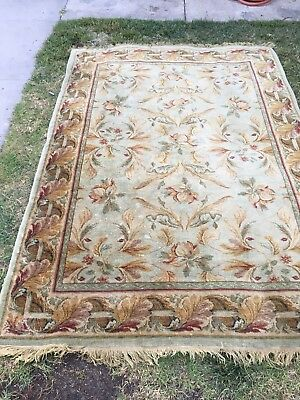 Classic Floral Hand-Tufted Ivory 8x11 Kashan Agra Oriental Area Rug 11' 5 x 8' 3 Beige Classic Kashan Rug
