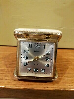 Vintage 'Coral' fold over travel alarm clock - 1960s - 70's - Made in Japan