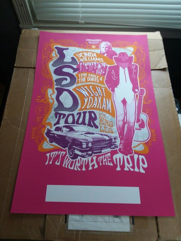 "LUCINDA WILLIAMS/STEVE EARLE/DWIGHT YOAKAM ""LSD TOUR""2018 CONCERT POSTER"