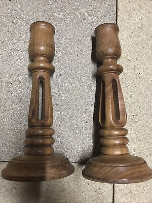 PAIR OF DECORATIVE CARVED WOODEN CANDLESTICKS MADE IN INDIA Approx 20cm Tall