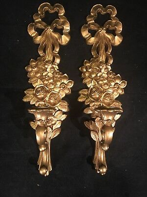 """Pair Vintage Candle Sconces 1969 Syroco 18"""" Tall Wall Art"""