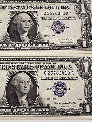 1957-A Silver Certificate 2 Consecutive Mix Laddar Note 12345678/9 UNC!Top Rare!