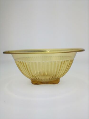 Federal Art Deco Glass Mixing Bowl Amber Yellow Depression Glass