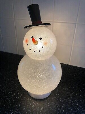 LED Lighted Glitter Snowman with Top Hat 15