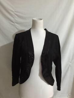 Jump Black Knit Jacket Cardigan Sequin Detail Large ( 14 ) As New