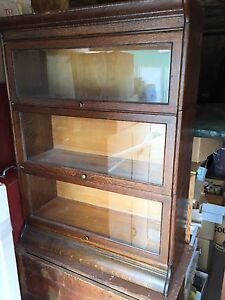 Antique oak glass Barristers display case