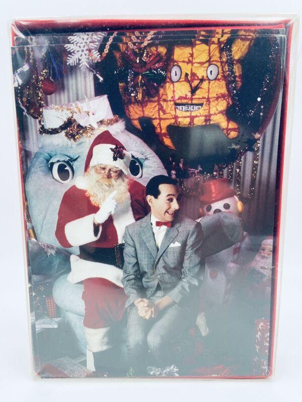Vintage Pee Wee Herman Sitting On Santas Lap Box of 12 Christmas Cards
