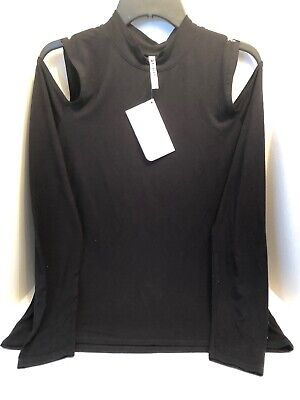Fabletics Iris Cold Shoulder Top Womens XL Mock Neck Jersey Long Sleeve Black