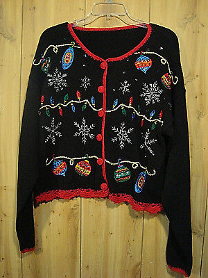 Vintage UGLY TACKY Sparkle Christmas Ornament Button Down Sweater SZ L? ()